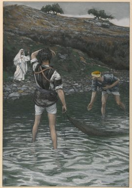 James Tissot (French, 1836-1902). <em>The Calling of Saint Peter and Saint Andrew (Vocation de Saint Pierre et Saint André)</em>, 1886-1894. Opaque watercolor over graphite on gray wove paper, Image: 9 5/8 x 6 5/8 in. (24.4 x 16.8 cm). Brooklyn Museum, Purchased by public subscription, 00.159.56 (Photo: Brooklyn Museum, 00.159.56_PS1.jpg)