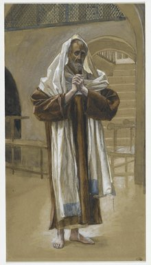 James Tissot (French, 1836-1902). <em>Saint Andrew (Saint André)</em>, 1886-1894. Opaque watercolor over graphite on gray wove paper, Image: 11 7/8 x 6 1/2 in. (30.2 x 16.5 cm). Brooklyn Museum, Purchased by public subscription, 00.159.57 (Photo: Brooklyn Museum, 00.159.57_PS2.jpg)