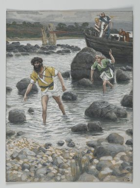 James Tissot (French, 1836-1902). <em>The Calling of Saint James and Saint John (Vocation de Saint Jacques et de Saint Jean)</em>, 1886-1894. Opaque watercolor over graphite on gray wove paper, Image: 7 11/16 x 5 3/4 in. (19.5 x 14.6 cm). Brooklyn Museum, Purchased by public subscription, 00.159.58 (Photo: Brooklyn Museum, 00.159.58_PS2.jpg)