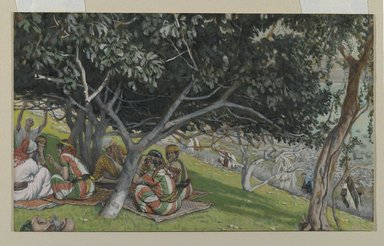 James Tissot (French, 1836-1902). <em>Nathaniel Under the Fig Tree (Nathanaël sous le figuier)</em>, 1886-1894. Opaque watercolor over graphite on gray wove paper, Image: 6 5/16 x 10 7/16 in. (16 x 26.5 cm). Brooklyn Museum, Purchased by public subscription, 00.159.59 (Photo: Brooklyn Museum, 00.159.59_PS2.jpg)
