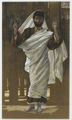 James Tissot (French, 1836-1902). <em>Saint Bartholomew (Saint Barthélémy)</em>, 1886-1894. Opaque watercolor over graphite on gray wove paper, Image: 11 x 6 7/16 in. (27.9 x 16.4 cm). Brooklyn Museum, Purchased by public subscription, 00.159.60 (Photo: Brooklyn Museum, 00.159.60_PS2.jpg)