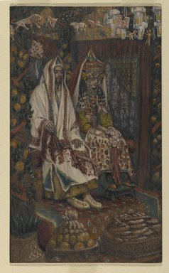 James Tissot (French, 1836-1902). <em>The Betrothed of Cana (Les fiancés de Cana)</em>, 1886-1894. Opaque watercolor over graphite on gray wove paper, Image: 8 5/16 x 4 15/16 in. (21.1 x 12.5 cm). Brooklyn Museum, Purchased by public subscription, 00.159.61 (Photo: Brooklyn Museum, 00.159.61_PS2.jpg)