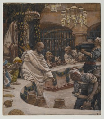 James Tissot (French, 1836-1902). <em>The Marriage at Cana (Les noces de Cana)</em>, 1886-1894. Opaque watercolor over graphite on gray wove paper, Image: 8 15/16 x 7 13/16 in. (22.7 x 19.8 cm). Brooklyn Museum, Purchased by public subscription, 00.159.62 (Photo: Brooklyn Museum, 00.159.62_PS2.jpg)