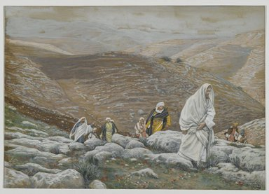 James Tissot (French, 1836-1902). <em>With Passover Approaching, Jesus Goes Up to Jerusalem</em>, 1886-1894. Opaque watercolor over graphite on gray wove paper, Image: 6 1/8 x 8 3/4 in. (15.6 x 22.2 cm). Brooklyn Museum, Purchased by public subscription, 00.159.63 (Photo: Brooklyn Museum, 00.159.63_PS2.jpg)