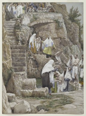 James Tissot (French, 1836-1902). <em>The Disciples of Jesus Baptize (Les disciples de Jésus baptisent)</em>, 1886-1896. Opaque watercolor over graphite on gray wove paper, Image: 9 7/8 x 7 5/16 in. (25.1 x 18.6 cm). Brooklyn Museum, Purchased by public subscription, 00.159.66 (Photo: Brooklyn Museum, 00.159.66_PS2.jpg)