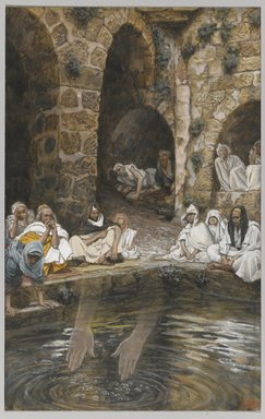 James Tissot (French, 1836-1902). <em>The Piscina Probatica or Pool of Bethesda (La piscine probatique ou de Bethesda)</em>, 1886-1894. Opaque watercolor over graphite on gray wove paper, Image: 9 1/4 x 5 7/8 in. (23.5 x 14.9 cm). Brooklyn Museum, Purchased by public subscription, 00.159.68 (Photo: Brooklyn Museum, 00.159.68_PS1.jpg)