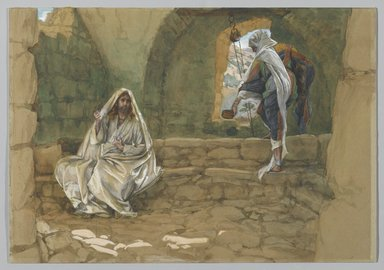 James Tissot (French, 1836-1902). <em>The Woman of Samaria at the Well (La Samaritaine à la fontaine)</em>, 1886-1894. Opaque watercolor over graphite on gray wove paper, Image: 10 5/16 x 14 13/16 in. (26.2 x 37.6 cm). Brooklyn Museum, Purchased by public subscription, 00.159.69 (Photo: Brooklyn Museum, 00.159.69_PS2.jpg)