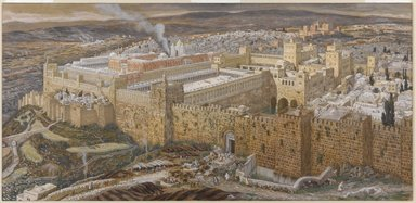 James Tissot (French, 1836-1902). <em>Reconstruction of Jerusalem and the Temple of Herod (Réconstitution de Jérusalem et du temple d'Hérode)</em>, 1886-1894. Opaque watercolor over graphite on gray wove paper, Image: 8 1/4 x 17 1/16 in. (21 x 43.3 cm). Brooklyn Museum, Purchased by public subscription, 00.159.6 (Photo: Brooklyn Museum, 00.159.6_PS1.jpg)