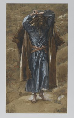 James Tissot (French, 1836-1902). <em>Saint Philip (Saint Philippe)</em>, 1886-1894. Opaque watercolor over graphite on gray wove paper, Image: 11 1/8 x 6 5/16 in. (28.3 x 16 cm). Brooklyn Museum, Purchased by public subscription, 00.159.70 (Photo: Brooklyn Museum, 00.159.70_PS2.jpg)