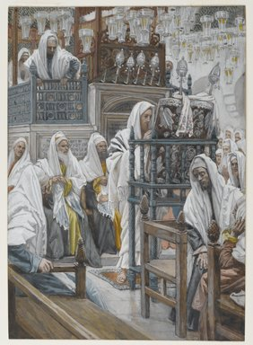 James Tissot (French, 1836-1902). <em>Jesus Unrolls the Book in the Synagogue (Jésus dans la synagogue déroule le livre)</em>, 1886-1894. Opaque watercolor over graphite on gray wove paper, Image: 10 11/16 x 7 9/16 in. (27.1 x 19.2 cm). Brooklyn Museum, Purchased by public subscription, 00.159.71 (Photo: Brooklyn Museum, 00.159.71_PS2.jpg)