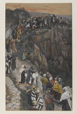 James Tissot (French, 1836-1902). <em>The Brow of the Hill near Nazareth (L'escarpement de Nazareth)</em>, 1886-1896. Opaque watercolor over graphite on gray wove paper, Image: 8 7/16 x 5 1/4 in. (21.4 x 13.3 cm). Brooklyn Museum, Purchased by public subscription, 00.159.72 (Photo: Brooklyn Museum, 00.159.72_PS2.jpg)
