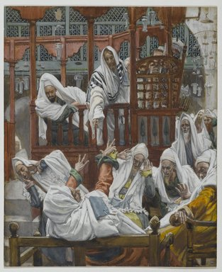 James Tissot (French, 1836-1902). <em>The Possessed Man in the Synagogue (Le possédé dans la Synagogue)</em>, 1886-1894. Opaque watercolor over graphite on gray wove paper, Image: 8 1/8 x 6 5/8 in. (20.6 x 16.8 cm). Brooklyn Museum, Purchased by public subscription, 00.159.75 (Photo: Brooklyn Museum, 00.159.75_PS2.jpg)
