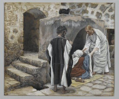 James Tissot (French, 1836-1902). <em>The Healing of Peter's Mother-in-law (La guérison de la belle-mère de Pierre)</em>, 1886-1894. Opaque watercolor over graphite on gray wove paper, Image: 7 7/16 x 8 11/16 in. (18.9 x 22.1 cm). Brooklyn Museum, Purchased by public subscription, 00.159.76 (Photo: Brooklyn Museum, 00.159.76_PS2.jpg)