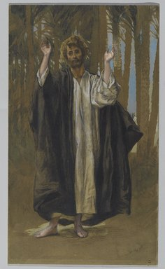 James Tissot (French, 1836-1902). <em>Saint Simon</em>, 1886-1894. Opaque watercolor over graphite on gray wove paper, Image: 12 3/16 x 7 1/8 in. (31 x 18.1 cm). Brooklyn Museum, Purchased by public subscription, 00.159.77 (Photo: Brooklyn Museum, 00.159.77_PS2.jpg)