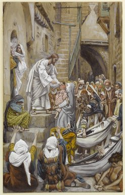 James Tissot (French, 1836-1902). <em>All the City Was Gathered at His Door (Toute la ville étant à sa porte)</em>, 1886-1896. Opaque watercolor over graphite on gray wove paper, Image: 11 3/16 x 7 1/16 in. (28.4 x 17.9 cm). Brooklyn Museum, Purchased by public subscription, 00.159.78 (Photo: Brooklyn Museum, 00.159.78_PS1.jpg)