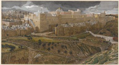 James Tissot (French, 1836-1902). <em>Reconstruction of the Temple of Herod, Southeast Corner (Reconstitution du temple d'Hérode. Angle sud-est.)</em>, 1886-1894. Opaque watercolor over graphite on gray wove paper, Image: 8 7/8 x 16 3/8 in. (22.5 x 41.6 cm). Brooklyn Museum, Purchased by public subscription, 00.159.7 (Photo: Brooklyn Museum, 00.159.7_PS1.jpg)