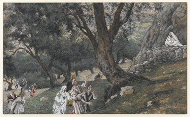 James Tissot (French, 1836-1902). <em>Jesus Went Out into a Desert Place (Jésus va dans un endroit désert)</em>, 1886-1896. Opaque watercolor over graphite on gray wove paper, Image: 6 5/16 x 10 7/16 in. (16 x 26.5 cm). Brooklyn Museum, Purchased by public subscription, 00.159.80 (Photo: Brooklyn Museum, 00.159.80_PS1.jpg)