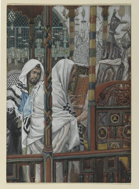James Tissot (French, 1836-1902). <em>Jesus Teaches in the Synagogues (Jésus enseigne dans les synagogues)</em>, 1886-1896. Opaque watercolor over graphite on gray wove paper, image: 8 9/16 x 6 1/16 in. (21.7 x 15.4 cm). Brooklyn Museum, Purchased by public subscription, 00.159.81 (Photo: Brooklyn Museum, 00.159.81_PS2.jpg)