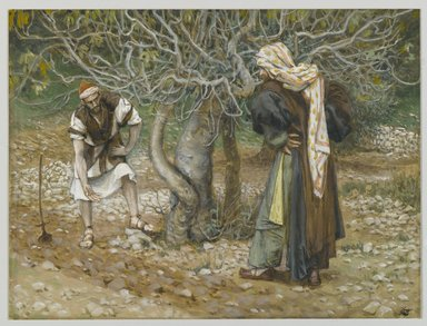 James Tissot (French, 1836-1902). <em>The Vine Dresser and the Fig Tree (Le vigneron et le figuier)</em>, 1886-1894. Opaque watercolor over graphite on gray wove paper, Image: 5 3/4 x 7 5/8 in. (14.6 x 19.4 cm). Brooklyn Museum, Purchased by public subscription, 00.159.82 (Photo: Brooklyn Museum, 00.159.82_PS2.jpg)