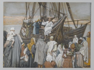 James Tissot (French, 1836-1902). <em>Jesus Preaches in a Ship (Jésus prèche dans une barque)</em>, 1886-1894. Opaque watercolor over graphite on gray wove paper, Image: 6 3/8 x 8 5/16 in. (16.2 x 21.1 cm). Brooklyn Museum, Purchased by public subscription, 00.159.85 (Photo: Brooklyn Museum, 00.159.85_PS2.jpg)