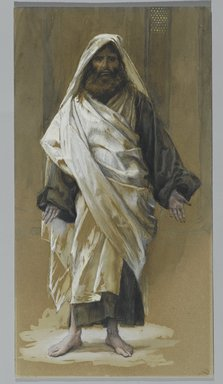 James Tissot (French, 1836-1902). <em>Saint James Major (Saint James le Majeur)</em>, 1886-1894. Opaque watercolor over graphite on gray wove paper, Image: 10 13/16 x 5 13/16 in. (27.5 x 14.8 cm). Brooklyn Museum, Purchased by public subscription, 00.159.86 (Photo: Brooklyn Museum, 00.159.86_PS2.jpg)