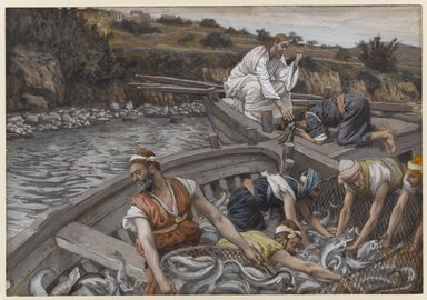 James Tissot (French, 1836-1902). <em>The Miraculous Draught of Fishes (La pêche miraculeuse)</em>, 1886-1896. Opaque watercolor over graphite on gray wove paper, Image: 6 3/4 x 9 11/16 in. (17.1 x 24.6 cm). Brooklyn Museum, Purchased by public subscription, 00.159.87 (Photo: Brooklyn Museum, 00.159.87_PS1.jpg)