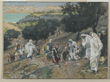 James Tissot (French, 1836-1902). <em>Jesus Heals the Blind and Lame on the Mountain (Sur la montagne Jésus guérit les aveugles et les boiteux)</em>, 1886-1896. Opaque watercolor over graphite on gray wove paper, Image: 6 3/4 x 9 3/16 in. (17.1 x 23.3 cm). Brooklyn Museum, Purchased by public subscription, 00.159.88 (Photo: Brooklyn Museum, 00.159.88_PS2.jpg)