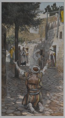 James Tissot (French, 1836-1902). <em>Healing of the Lepers at Capernaum (Guérison des lépreux à Capernaum)</em>, 1886-1894. Opaque watercolor over graphite on gray wove paper, Image: 11 1/4 x 6 3/16 in. (28.6 x 15.7 cm). Brooklyn Museum, Purchased by public subscription, 00.159.89 (Photo: Brooklyn Museum, 00.159.89_PS1.jpg)