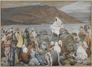 James Tissot (French, 1836-1902). <em>Jesus Teaches the People by the Sea (Jésus enseigne le peuple près de la mer)</em>, 1886-1896. Opaque watercolor over graphite on gray wove paper, Image: 6 11/16 x 9 1/4 in. (17 x 23.5 cm). Brooklyn Museum, Purchased by public subscription, 00.159.90 (Photo: Brooklyn Museum, 00.159.90_PS1.jpg)
