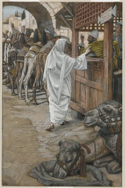 James Tissot (French, 1836-1902). <em>The Calling of Saint Matthew (Vocation de Saint Mathieu)</em>, 1886-1896. Opaque watercolor over graphite on gray wove paper, Image: 10 1/4 x 6 5/8 in. (26 x 16.8 cm). Brooklyn Museum, Purchased by public subscription, 00.159.91 (Photo: Brooklyn Museum, 00.159.91_PS1.jpg)