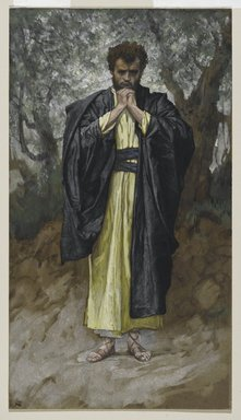 James Tissot (French, 1836-1902). <em>Saint Matthew (Saint Mathieu)</em>, 1886-1894. Opaque watercolor over graphite on gray wove paper, Image: 11 1/16 x 6 3/16 in. (28.1 x 15.7 cm). Brooklyn Museum, Purchased by public subscription, 00.159.92 (Photo: Brooklyn Museum, 00.159.92_PS2.jpg)