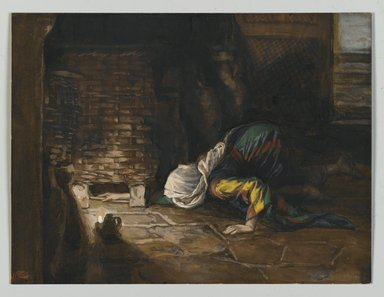 James Tissot (French, 1836-1902). <em>The Lost Drachma (La drachme perdue)</em>, 1886-1894. Opaque watercolor over graphite on gray wove paper, Image: 5 x 6 5/8 in. (12.7 x 16.8 cm). Brooklyn Museum, Purchased by public subscription, 00.159.93 (Photo: Brooklyn Museum, 00.159.93_PS2.jpg)