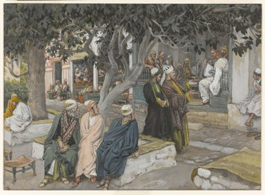 James Tissot (French, 1836-1902). <em>The Meal in the House of Matthew (Le repas chez Mathieu)</em>, 1886-1896. Opaque watercolor over graphite on gray wove paper, Image: 7 11/16 x 10 1/2 in. (19.5 x 26.7 cm). Brooklyn Museum, Purchased by public subscription, 00.159.94 (Photo: Brooklyn Museum, 00.159.94_PS1.jpg)