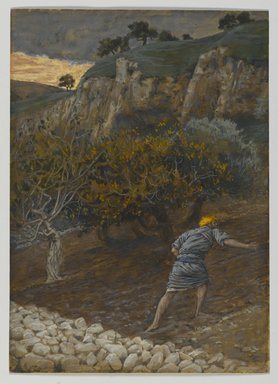 James Tissot (French, 1836-1902). <em>The Enemy Who Sows (L'Ennemi qui sème)</em>, 1886-1894. Opaque watercolor over graphite on gray wove paper, Image: 8 3/8 x 6 in. (21.3 x 15.2 cm). Brooklyn Museum, Purchased by public subscription, 00.159.96 (Photo: Brooklyn Museum, 00.159.96_PS2.jpg)