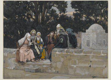 James Tissot (French, 1836-1902). <em>The Pharisees and the Herodians Conspire Against Jesus (Les pharisiens et les hérodiens conspirent contre Jésus)</em>, 1886-1894. Opaque watercolor over graphite on gray wove paper, Image: 6 3/4 x 8 15/16 in. (17.1 x 22.7 cm). Brooklyn Museum, Purchased by public subscription, 00.159.97 (Photo: Brooklyn Museum, 00.159.97_PS2.jpg)