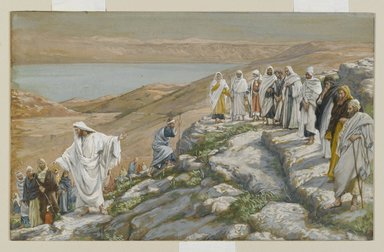 James Tissot (French, 1836-1902). <em>Ordaining of the Twelve Apostles (Election des douze apôtres)</em>, 1886-1894. Opaque watercolor over graphite on gray wove paper, Image: 6 11/16 x 10 9/16 in. (17 x 26.8 cm). Brooklyn Museum, Purchased by public subscription, 00.159.98 (Photo: Brooklyn Museum, 00.159.98_PS2.jpg)