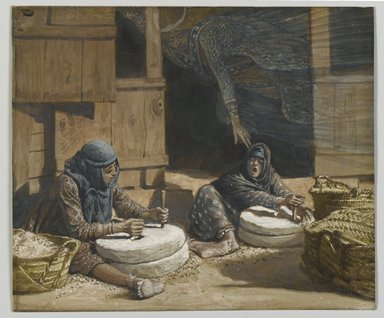 James Tissot (French, 1836-1902). <em>The Two Women at the Mill (Les deux femmes au moulin)</em>, 1886-1894. Opaque watercolor over graphite on gray wove paper, Image: 5 5/16 x 7 in. (13.5 x 17.8 cm). Brooklyn Museum, Purchased by public subscription, 00.159.99 (Photo: Brooklyn Museum, 00.159.99_PS2.jpg)