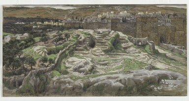 James Tissot (French, 1836-1902). <em>Reconstruction of Golgotha and the Holy Sepulchre, Seen from the Walls of Herod's Palace (Reconstitution du Golgotha et du Saint-Sépulcre. Vu des murs du palais d'Hérode.)</em>, 1886-1894. Opaque watercolor over graphite on gray wove paper, Image: 6 1/4 x 12 7/16 in. (15.9 x 31.6 cm). Brooklyn Museum, Purchased by public subscription, 00.159.9 (Photo: Brooklyn Museum, 00.159.9_PS2.jpg)