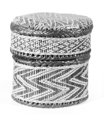 Kongo. <em>Small Round Basket with Cover</em>, late 19th century. Vegetable fiber, wood, Diameter: 4 5/16 in. (11 cm). Brooklyn Museum, Brooklyn Museum Collection, 00.69a-b. Creative Commons-BY (Photo: Brooklyn Museum, 00.69a-b_bw_SL3.jpg)
