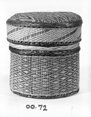 Kongo. <em>Basket with Cover</em>, late 19th century. Vegetal fiber, wood, rattan, cane, raffia, 6 x 5 1/4 x 5 1/4 in.  (15.2 x 13.3 x 13.3 cm). Brooklyn Museum, Brooklyn Museum Collection, 00.72a-b. Creative Commons-BY (Photo: Brooklyn Museum, 00.72a-b_bw.jpg)