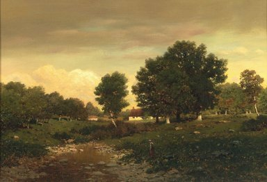 Henry Pember Smith (American, 1854-1907). <em>Landscape</em>, 1882. Oil on canvas, 11 15/16 x 17 15/16 in. (30.4 x 45.5 cm). Brooklyn Museum, Gift of Carll H. de Silver, 01.1502 (Photo: Brooklyn Museum, 01.1502.jpg)