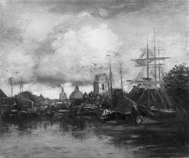 George H. Bogert (American, 1864-1944). <em>Dordrecht</em>, ca. 1900. Oil and bituminous medium on canvas, frame: 25 1/4 x 30 1/2 in (64.1 x 77.5 cm). Brooklyn Museum, Gift of George A. Hearn, 01.1505 (Photo: Brooklyn Museum, 01.1505_glass-bw.jpg)