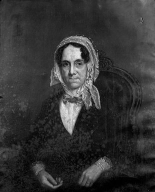 American. <em>Mrs. Joseph (Maria Debevoise) Sprague</em>, ca. 1850. Oil on canvas, 35 13/16 x 28 13/16 in. (90.9 x 73.2 cm). Brooklyn Museum, Bequest of Maria S. Meeker, 01.1533 (Photo: Brooklyn Museum, 01.1533_cropped_bw.jpg)