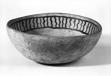 Ancient Pueblo (Anasazi). <em>Black on White Bowl</em>. Clay, slip, 2 1/2 x 6 in. (6.4 x 15.2 cm). Brooklyn Museum, Gift of Charles A. Schieren, 01.1538.1742. Creative Commons-BY (Photo: Brooklyn Museum, 01.1538.1742_bw_SL5.jpg)