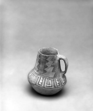 Ancient Pueblo (Anasazi). <em>Black on White Pitcher</em>. Clay, slip, 5 1/2 x 6 1/2 in. (14 x 16.5 cm). Brooklyn Museum, Gift of Charles A. Schieren, 01.1538.1750. Creative Commons-BY (Photo: Brooklyn Museum, 01.1538.1750_bw.jpg)