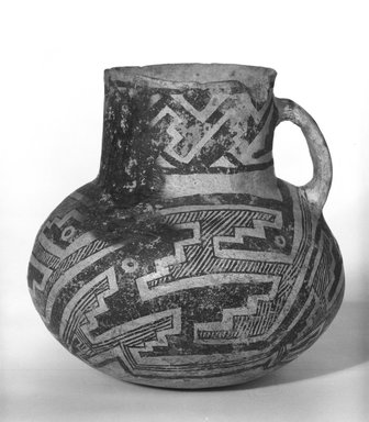Possibly Mimbres. <em>Pitcher</em>. Clay, slip, 5 1/2 x 5 in (14 x 12.7 cm). Brooklyn Museum, Gift of Charles A. Schieren, 01.1538.1753. Creative Commons-BY (Photo: Brooklyn Museum, 01.1538.1753_bw_SL5.jpg)