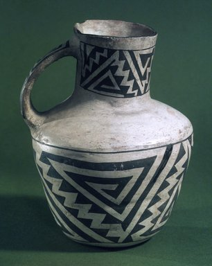 Ancient Pueblo (Anasazi). <em>Pitcher with Black on White Geometric Designs</em>, 900-1300. Ceramic, pigment, 7 x 5 x 5 in. (17.8 x 12.7 x 12.7 cm). Brooklyn Museum, Gift of Charles A. Schieren, 01.1538.1756. Creative Commons-BY (Photo: , 01.1538.1756.jpg)