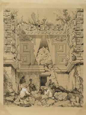 Frederick Catherwood (British, 1799-1854). <em>Archway, Casa del Gobernador, Uxmal, Yucatan</em>, 1843. Sepia ink and wash on wove paper, Image: 12 1/2 x 17 in. (31.8 x 43.2 cm). Brooklyn Museum, Gift of Frank Squier, 02.127 (Photo: Brooklyn Museum, 02.127_PS2.jpg)