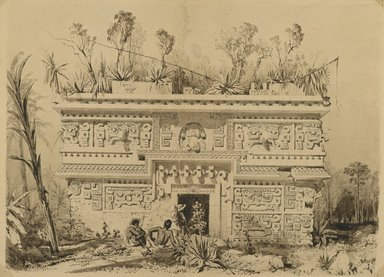 Frederick Catherwood (British, 1799-1854). <em>Las Monjas, Chichen Itza, Yucatan</em>, 1843. Sepia ink and wash on wove paper, comp.: 18 1/4 x 14 3/4 in. (46.4 x 37.5 cm). Brooklyn Museum, Gift of Frank Squier, 02.128 (Photo: Brooklyn Museum, 02.128_PS2.jpg)