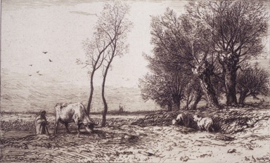 Charles-Émile Jacque (French, 1813-1894). <em>Winter</em>, ca. 1865. Etching with Chine collé on China paper laid down, mat: 12 7/8 x 16 15/16 in. (32.7 x 43 cm). Brooklyn Museum, Brooklyn Museum Collection, 02.13 (Photo: Brooklyn Museum, 02.13_transp48.jpg)